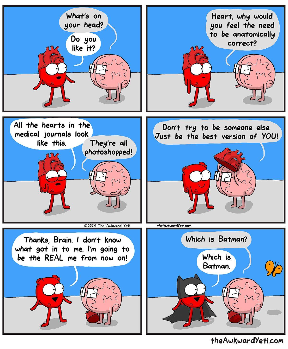 Awkward yeti image by Khira on Miscellaneous   Heart and brain comic, Funny  comics
