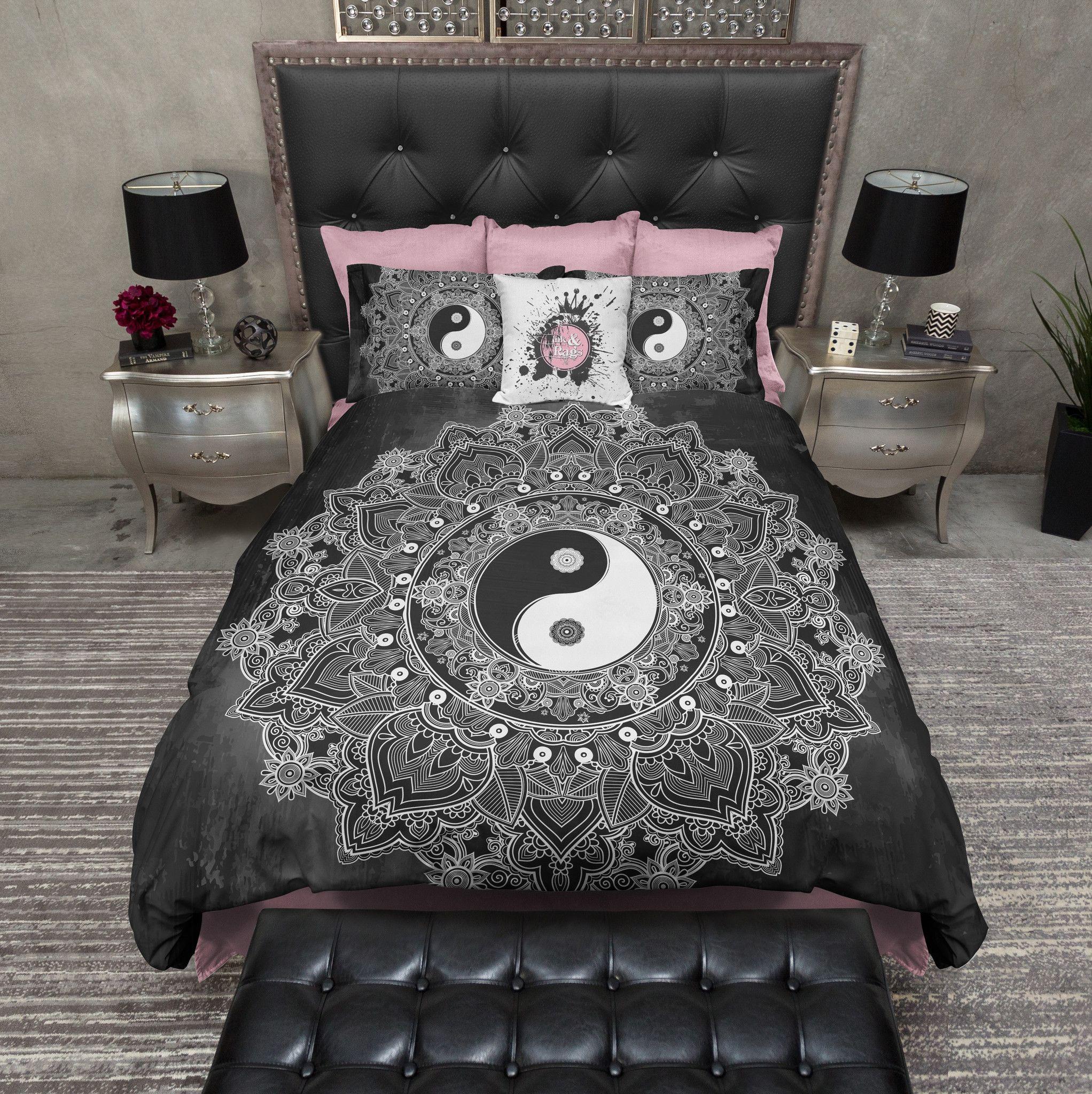 Black and White Henna Mandala Yin Yang Bedding | Duvet ...