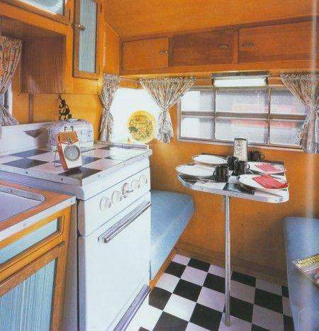 Interior of Comet travel trailer  Like the black/white