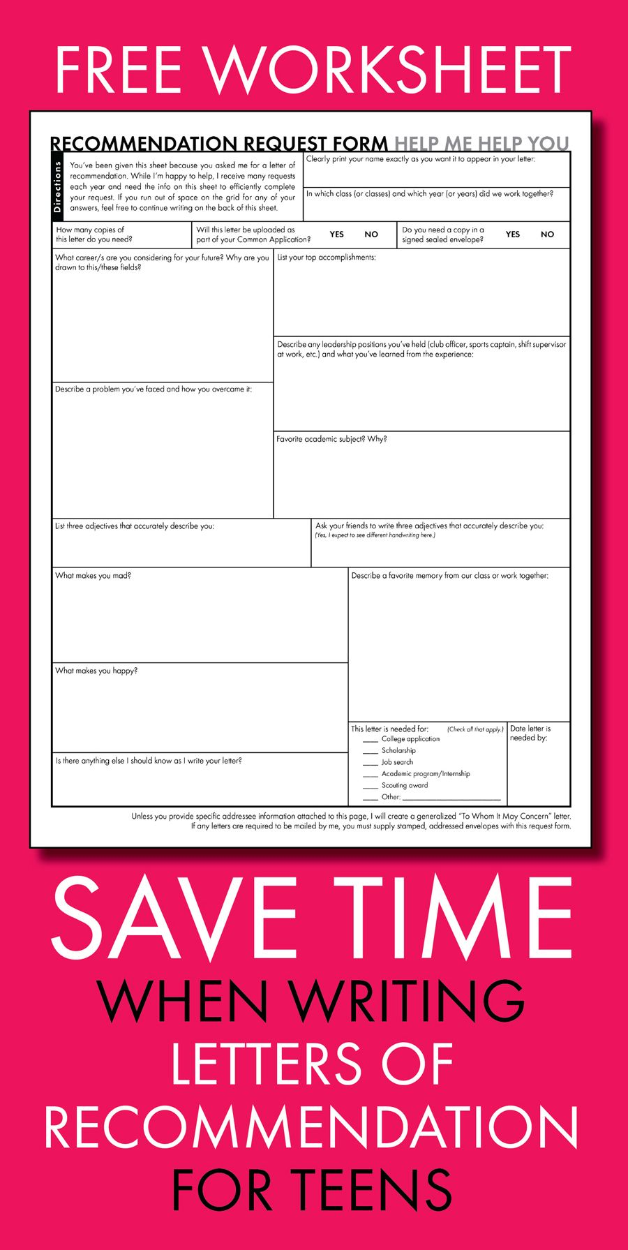 free worksheet to save time when writing letters of recommendation for high school students highschool