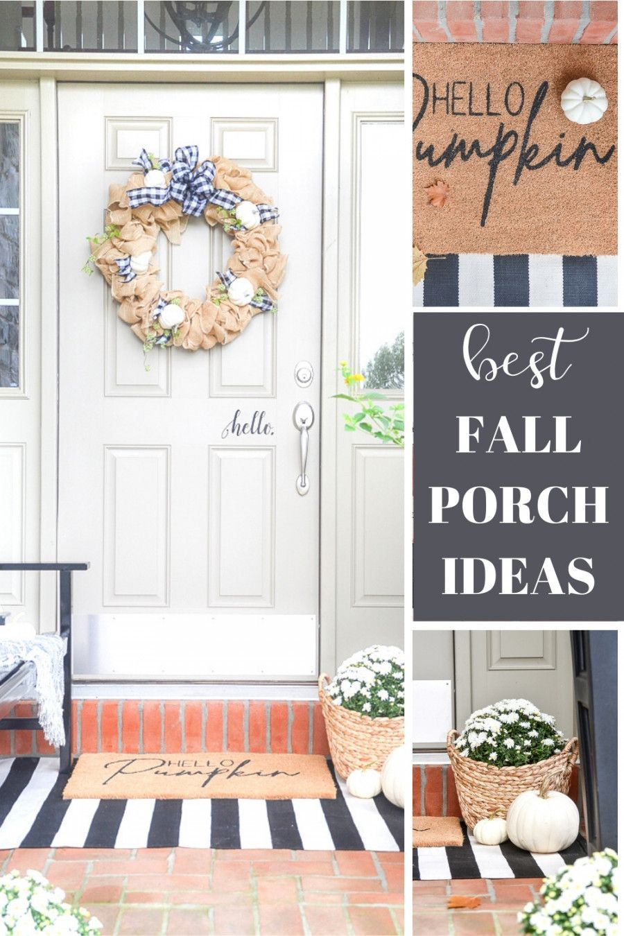 Get THE BEST TIPS FOR DECORATING A FABULOUS FALL FRONT PORCH! Lots of decorating ideas and inspiration #fall #falldecorating #falldecor #fallfrontdoor #frontdoordecor #decorating #homedecor #pumpkins #whitepumpkins #decoratingwithpumpkins #fallmums