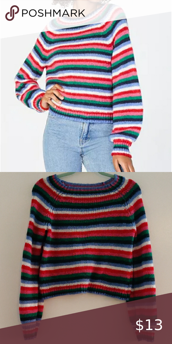 CRAVE FAME Juniors Fluffy Striped Sweater