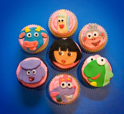 Dora the Explorer cupcakes Dora the explorer birthday cupcakes