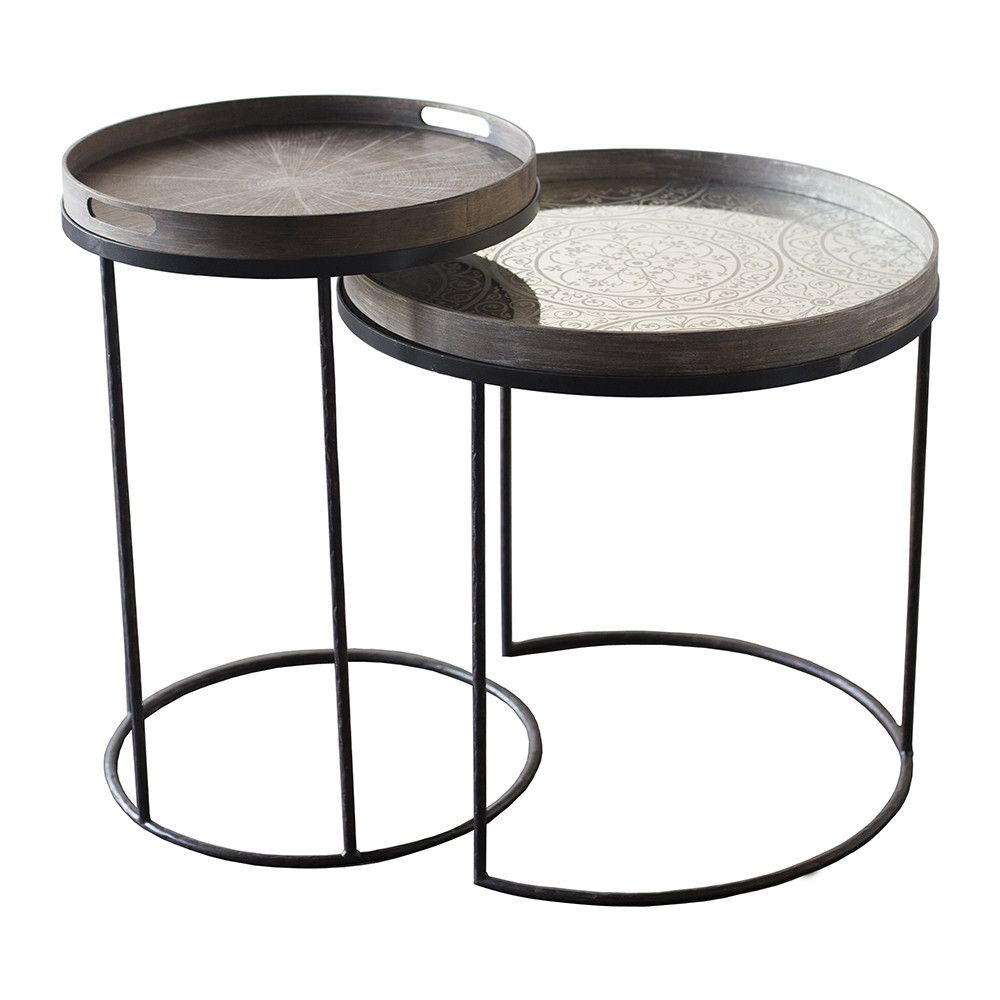 Notre Monde   Round Nesting Tray Table   Set Of 2