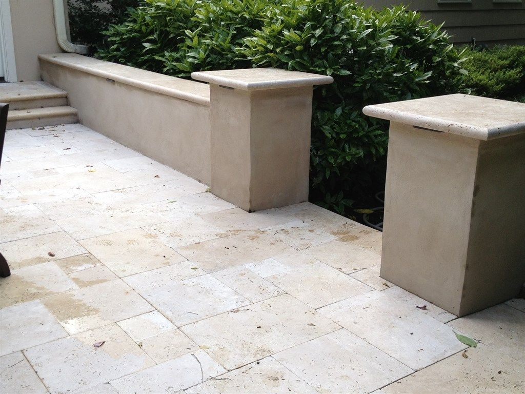 Stucco Seat Wall In 2020 Backyard Retaining Walls Front Yard Landscaping Front Porch Seating