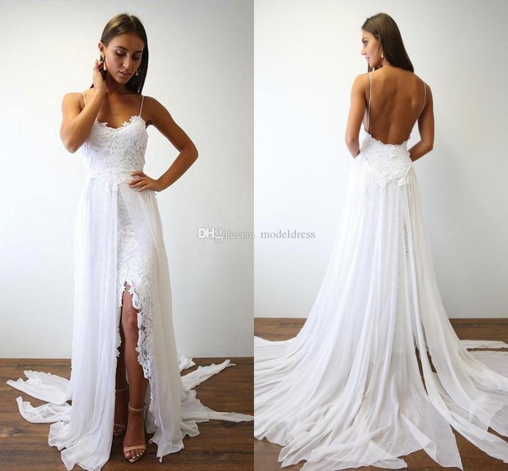 2018 New Lace Bohemian Wedding Dresses Spaghetti A Line Side Split ...