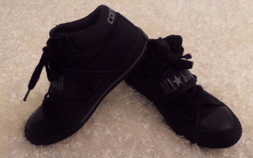 bd7fd89d79407f Boys Converse CT Strap Mid Shoes Style 327560F Size 12 Black GUC  Converse   Athletic