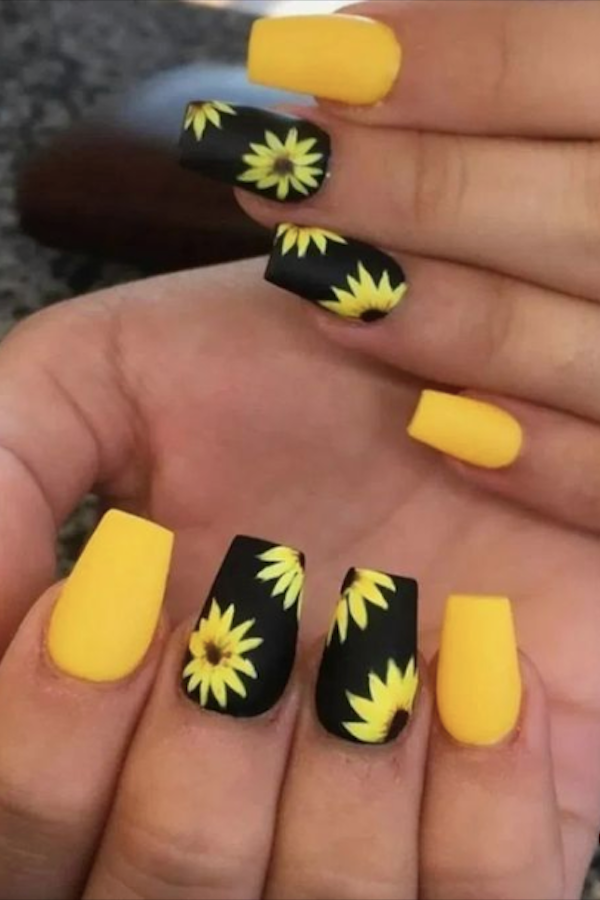 60 Yellow Nails With Gel And Matte In Oval And Coffin Shapes Page 5 Of 10 The First Hand Fashion News For Females In 2020 Short Acrylic Nails Designs Yellow Nails Sunflower Nails