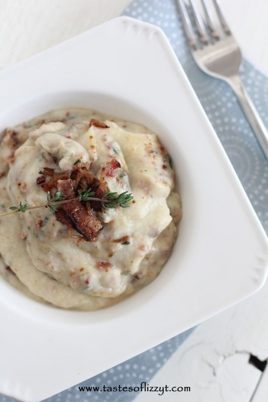 Bacon & Thyme Mashed Cauliflower Recipe - The Whole Smith's for Tastes of Lizzy T. Surprise your loved ones with this family-friendly Bacon & Thyme Mashed Cauliflower. It's a paleo (and Whole30) side dish that will guarantee smiles!
