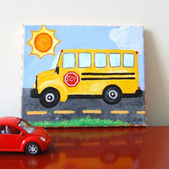 Art For Kids Rooms School Bus 8x10 Acrylic Canvas