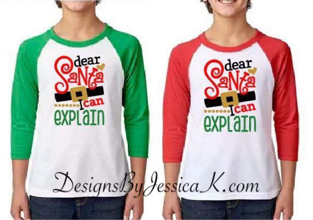 adbe378def39c Dear Santa I Can Explain Christmas Kids Shirt Design. Youth Baseball ...