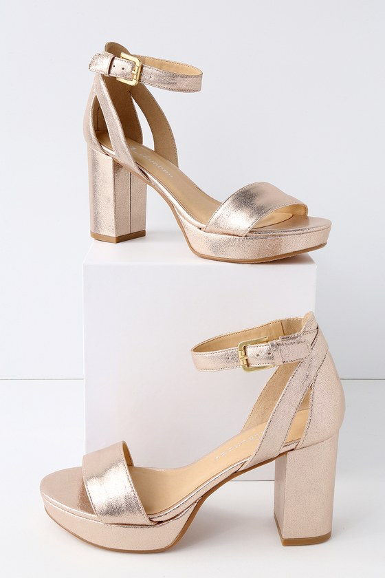 Chinese Laundry Go On Light Gold Platform Ankle Strap Heels