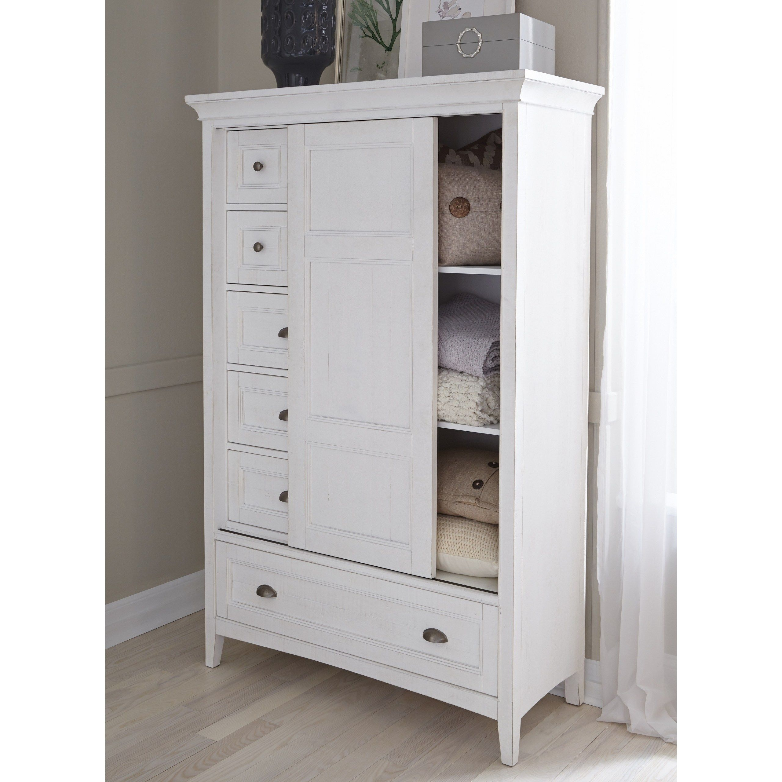 Heron Cove Relaxed Traditional Soft White Sliding Door Chest Beige Resource Furniture Door Chest Furniture