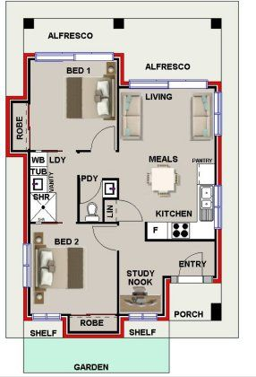 2 bed study nook bath house plan 2 bedroom house for Study bed plans