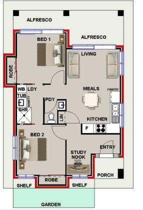Sensational 2 Bed Study Nook Bath House Plan 2 Bedroom House Plans Inspirational Interior Design Netriciaus