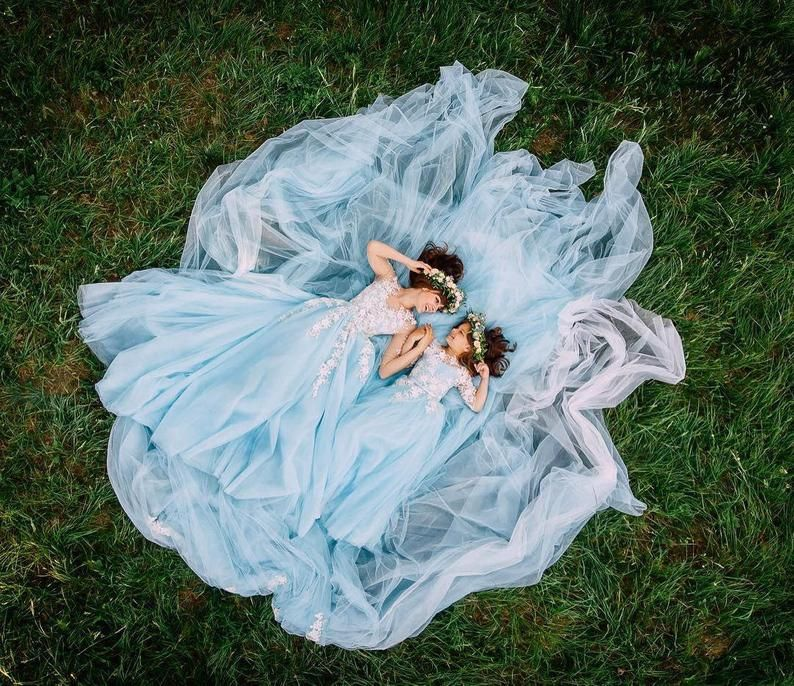 Blue mommy daughter dresses lace maternity dress matching