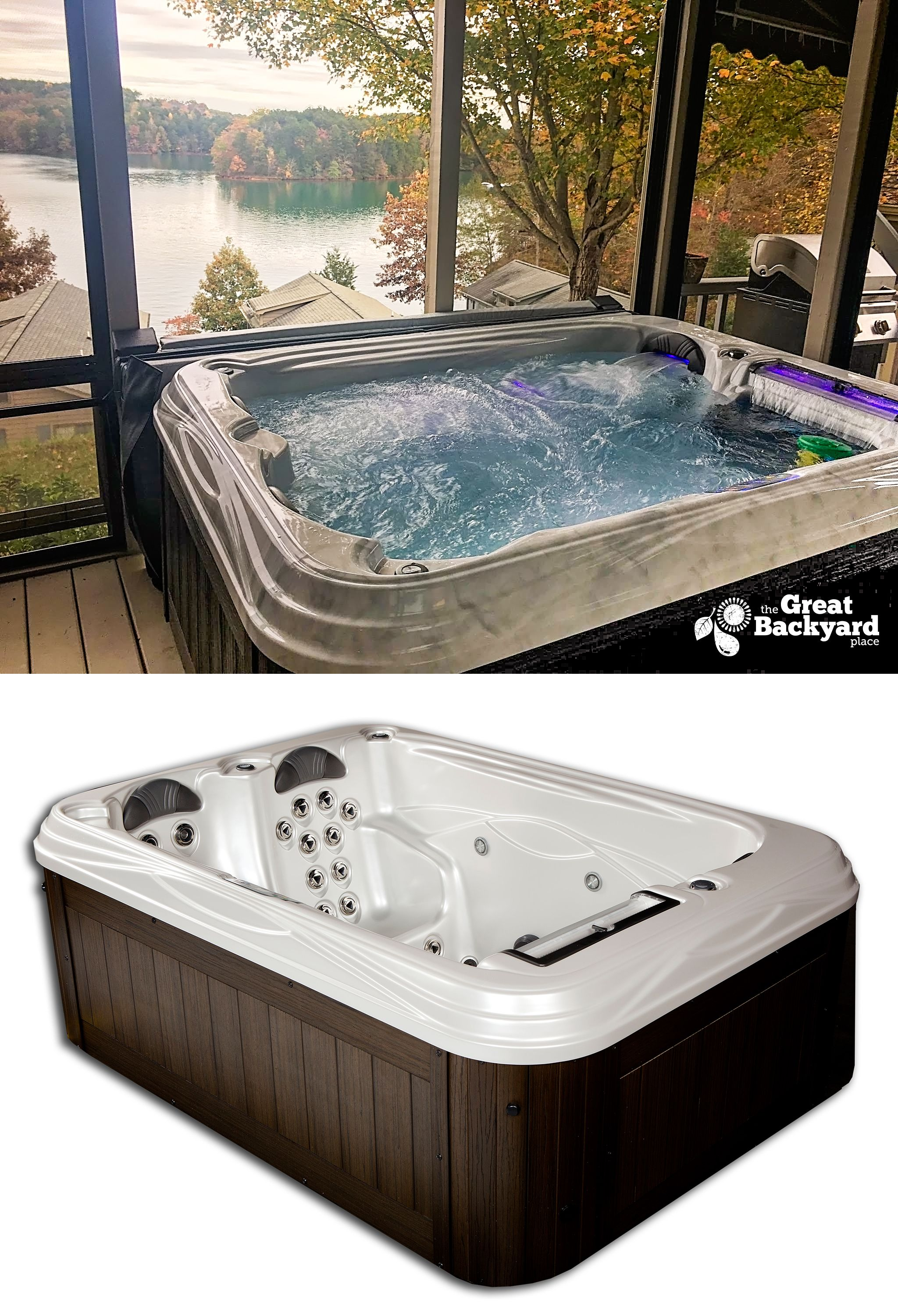 After A Long Day Engulf Your Aching Muscles In The Ultimate Hydrotherapy Of The Santa Cruz The Strategically Placed Jets In Spa Hot Tubs Hot Tub Small Patio