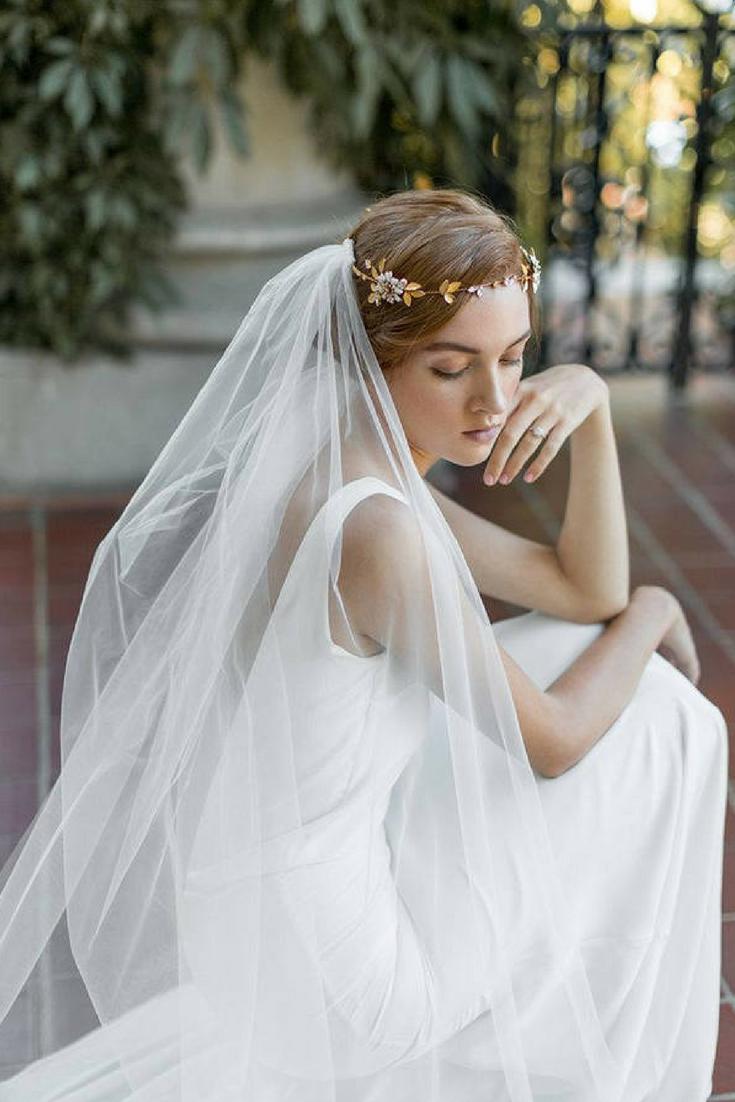 Etsy flower crown veil boho veil bohemian wedding veil draped
