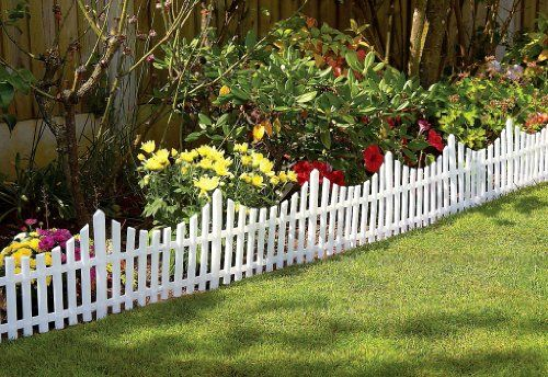 Great Ideas Set of 4 Mini White Garden Picket Fence Panels - Wood Effect Plastic Lawn Edging For Plant Borders And Flowerbeds