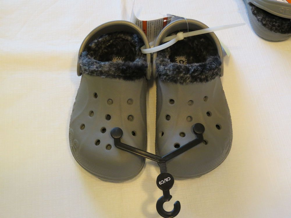 b3ff78bf6 Crocs baya heather lined Clog relaxed fit childrens C8 9 smoke black     Crocs…
