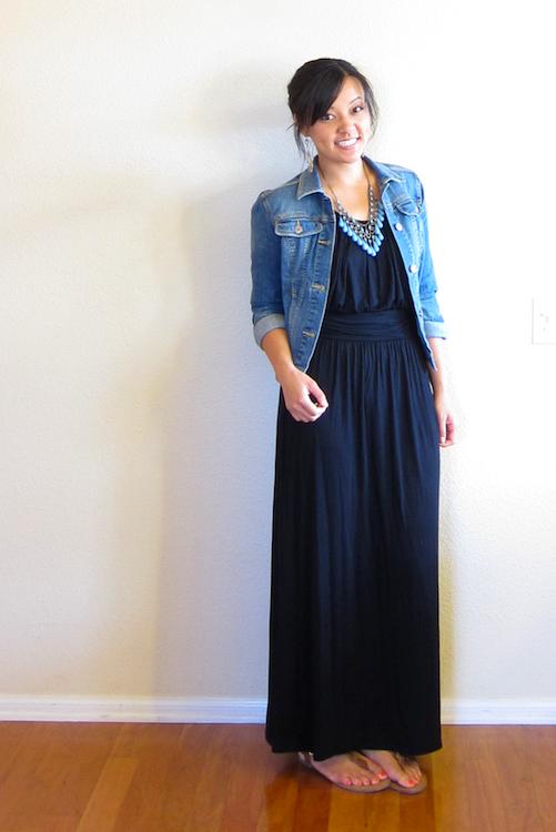 4b6b726df5 Black maxi dress, jean jacket, necklace Maxi Skirt Black, Navy Maxi, Black