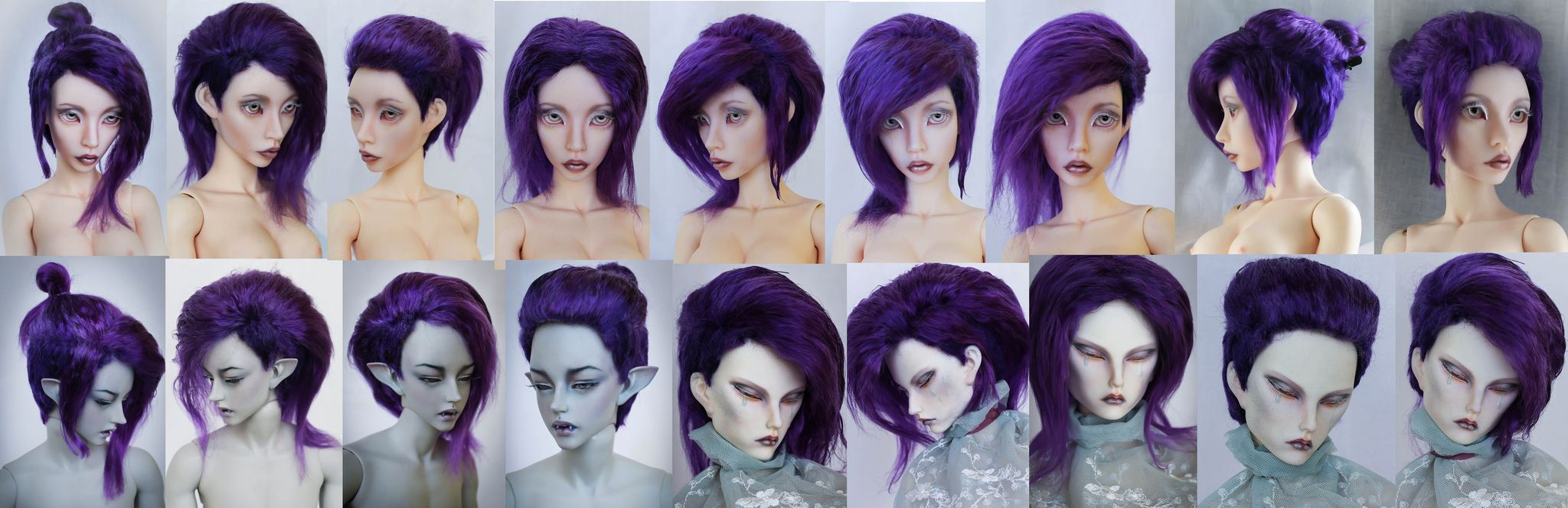 https://flic.kr/p/wm5aYh | commission wig | Angora mohair elastic cup violet color different hairstyles in one wig