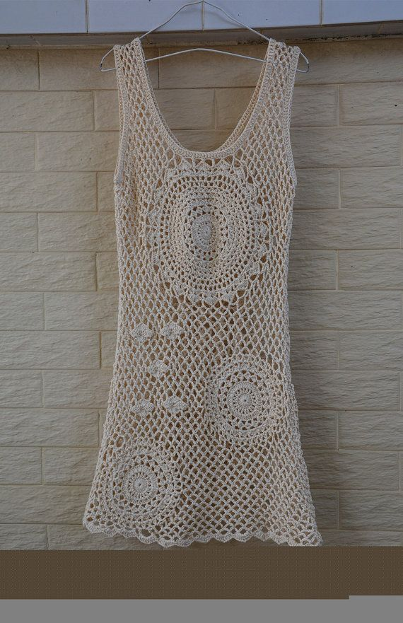 Boho Crochet Dress Summer Beach Cover Up Dress