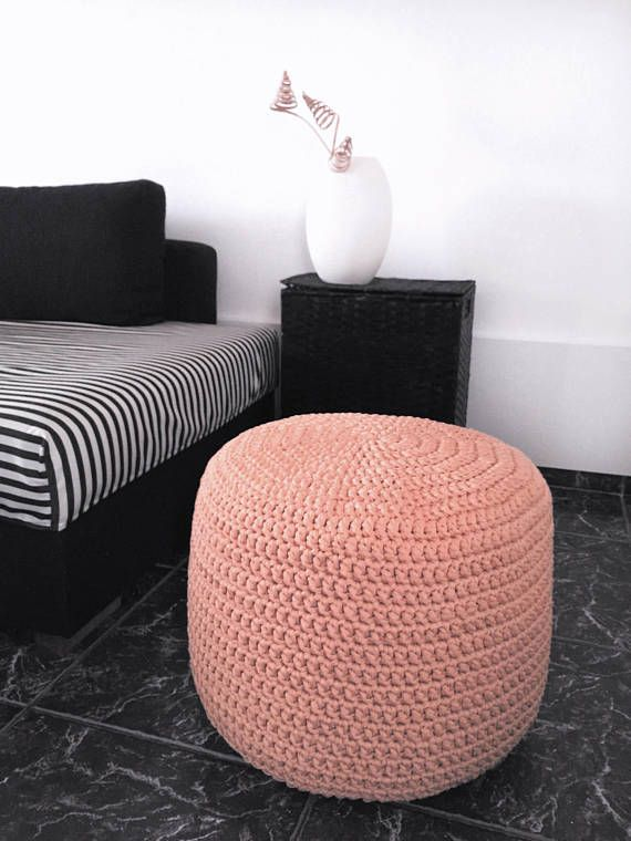 Astounding Pastel Peach Nursery Pouf Footstool Blush Knitted Round Machost Co Dining Chair Design Ideas Machostcouk
