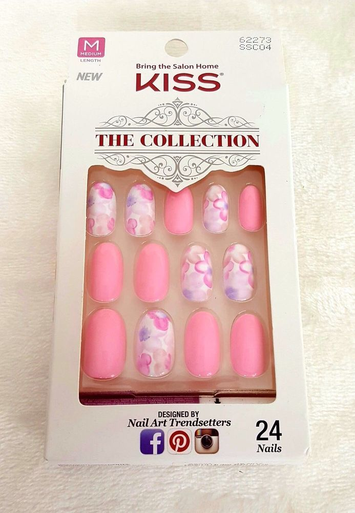 KISS 24 Glue/Press-On Nails PINK+FLORAL The Collection MEDIUM #62273 ...