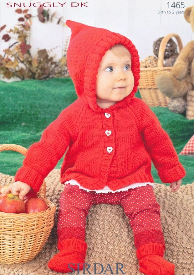 Sirdar Snuggly DK Baby Red Riding Hood Coat Booties Knitting Pattern ...