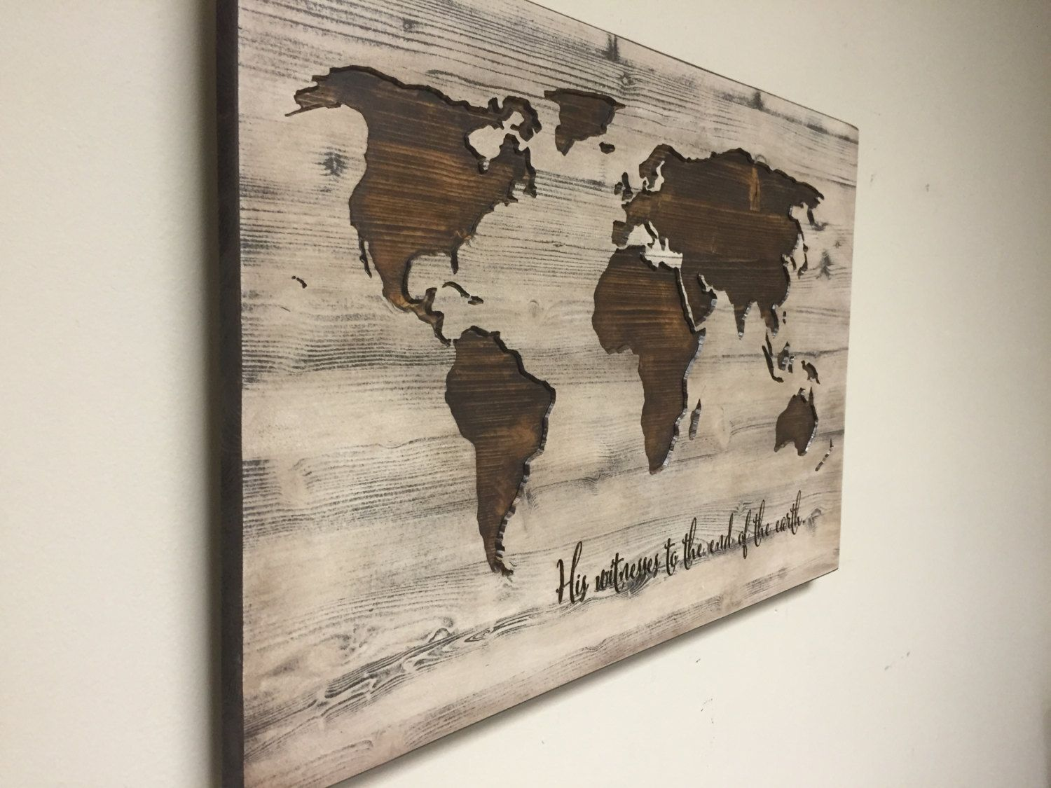 World map wall art, spiritual, Vintage Carved Wood Map, His Witness ...
