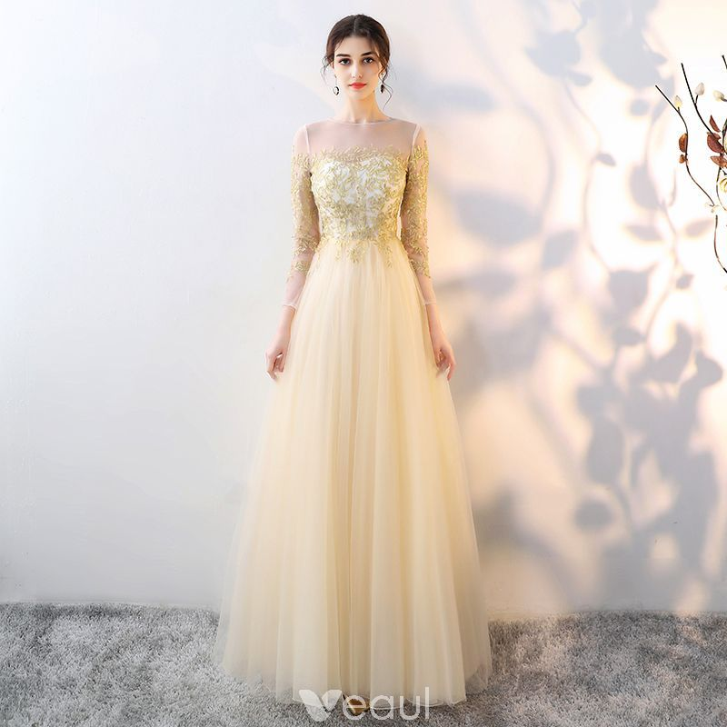 Elegant Gold See-through Evening Dresses 2018 Empire Square Neckline Long  Sleeve Appliques Lace Floor-Length   Long Ruffle Formal Dresses 7791c7ae41df4