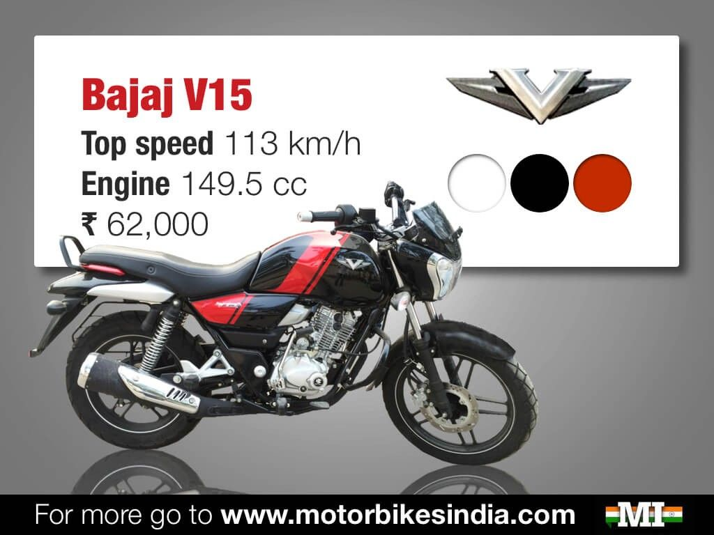 Top 5 150cc 160cc motorcycles in the country indian cars bikes - Bajaj V15 Quick Facts Infographics
