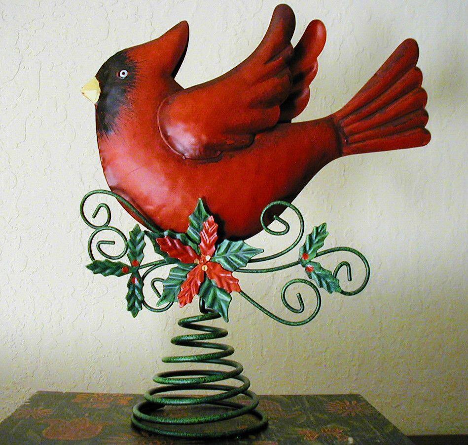 Metal Red Cardinal Bird Christmas Tree Topper 10 1 2 X 9 Poinsettia Holly Christmas Tree Toppers Tree Toppers Christmas Tree Design
