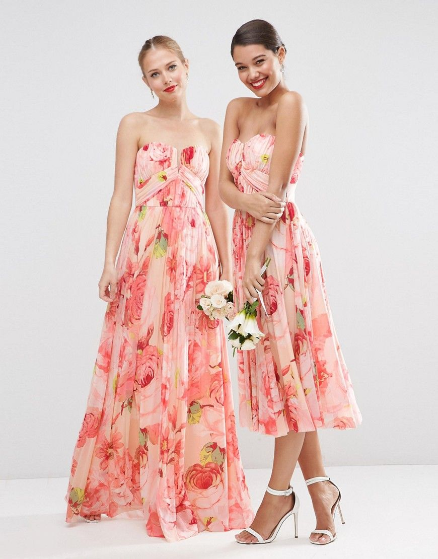 Image of asos wedding floral printed rouched bandeau mesh maxi