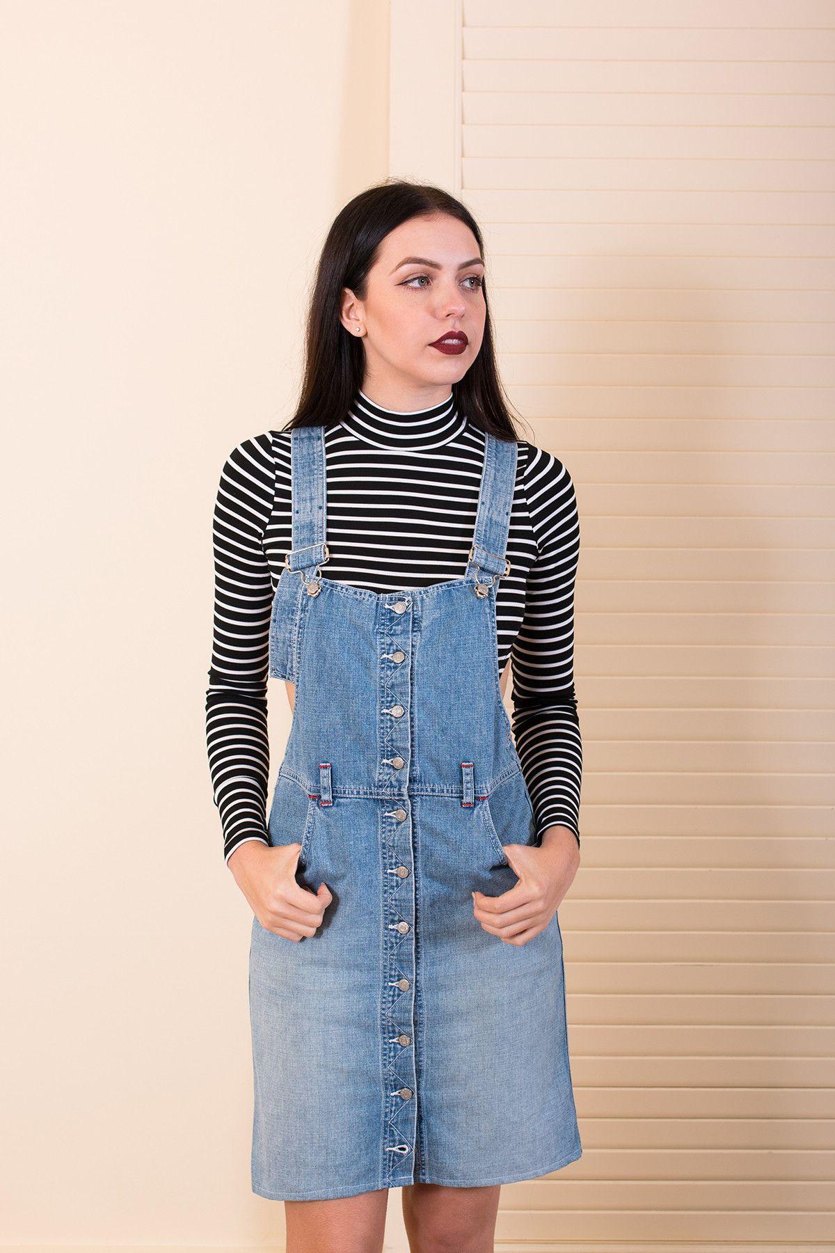 bdf873dc5022 Vintage Denim Overall Dress