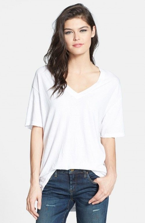 819f3305 Leith Women's Oversized V Neck Tshirt White T Shirt | Shirts, Tops and  Clothing
