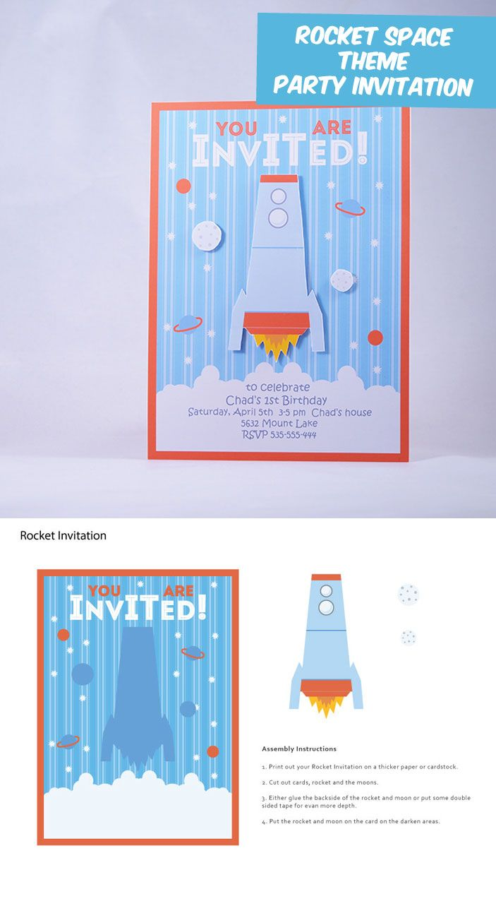 diy party invitations spacerocket and robot theme paper