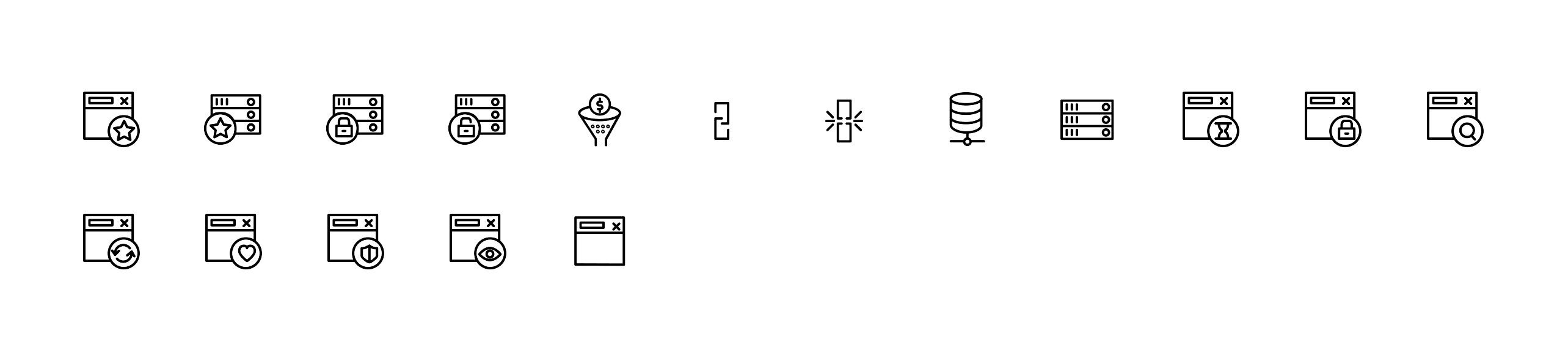 A collection of Network icons in clean and modern Line style. Check our other icon sets on www.metropolicons.com
