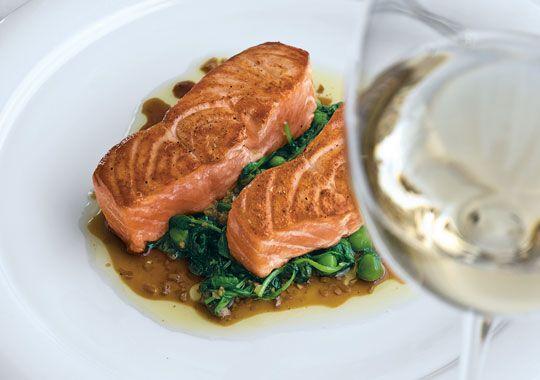 Eric Ripert's Seared Salmon, Sautéed Pea Shoots & Ginger-Soy Vinaigrette