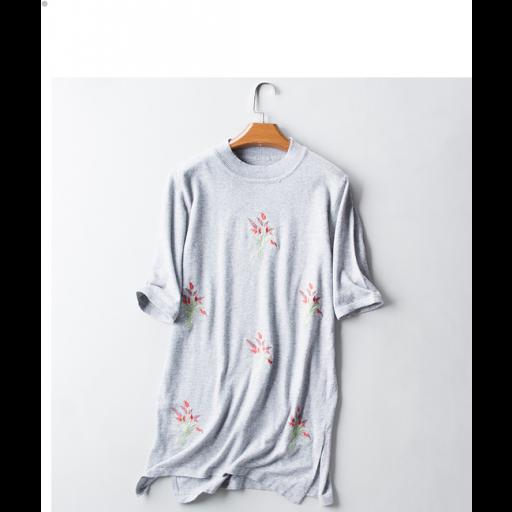 تيشيرت طويل رصاصي نص كم Shirts Wool T Shirt