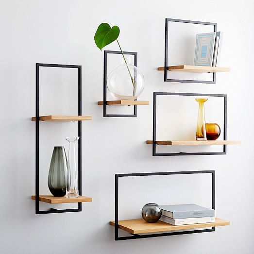 Shelfmate Wood & Metal Tall Vertical Shelf