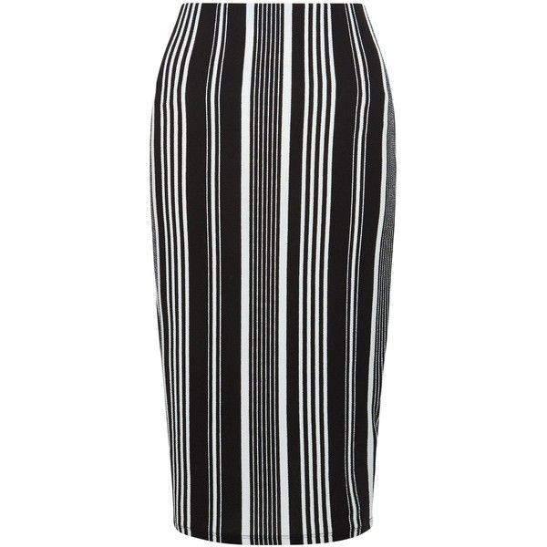 adf458b302 New Look Black Stripe Pencil Skirt ($22) ❤ liked on Polyvore featuring  skirts, black pattern, print skirt, striped pencil skirt, patterned pencil  skirt, ...