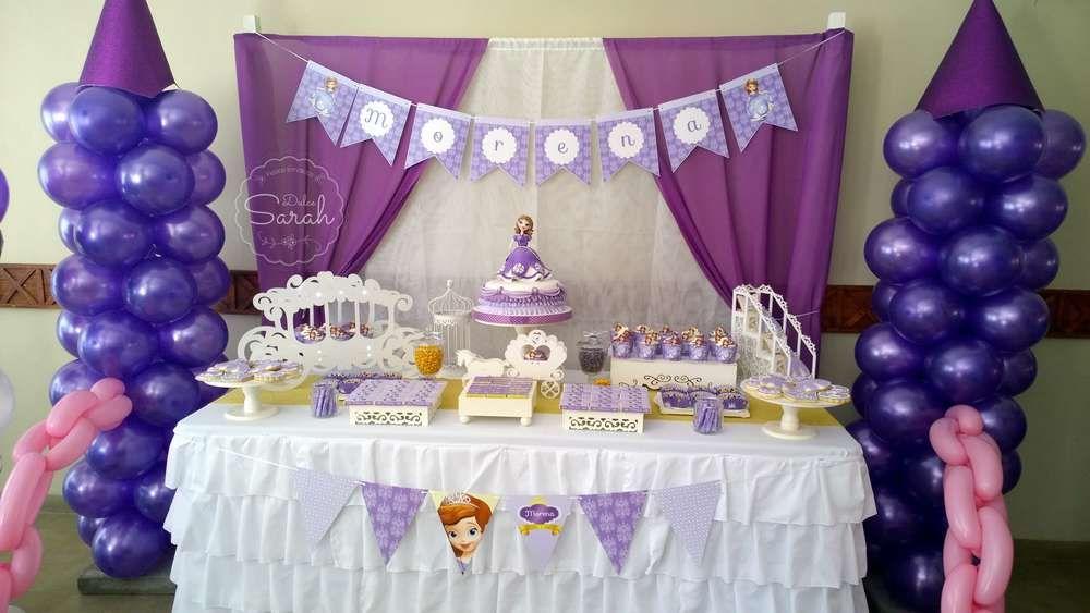 PRINCESA SOFIA Birthday Party Ideas   Mesa de dulces, Fiestas y Bombas