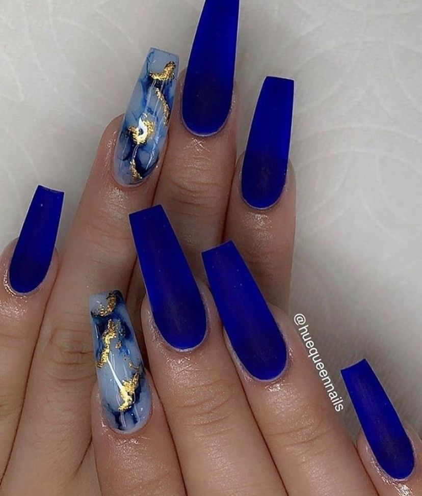 Royal Blue And Marble Coffin Nails Acrylic Nails Coffin Short Blue Acrylic Nails Long Acrylic Nails Coffin