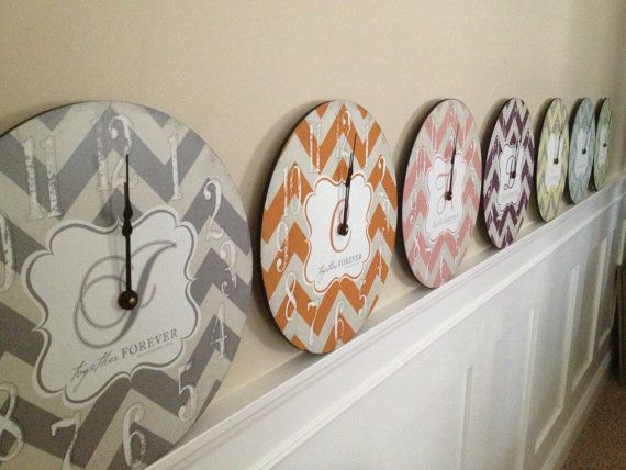 Trendy Wedding Gifts: Trendy Chevron Print 12 Inch Clock Personalized With