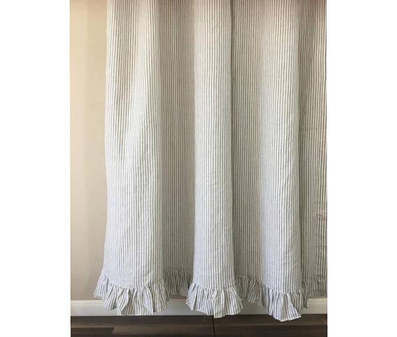 Grey Stripe Linen Shower Curtain Features Ruffle Hem Mildew Free 72x72 72x85 72x94 Custom Curt Curtains Striped Shower Curtains Primitive Bathrooms