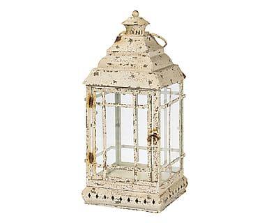 Lanterna in ferro Shabby bianco, 21x53x21 cm