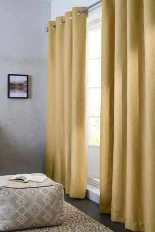 Ochre Blackout Textured Weave Eyelet Curtains