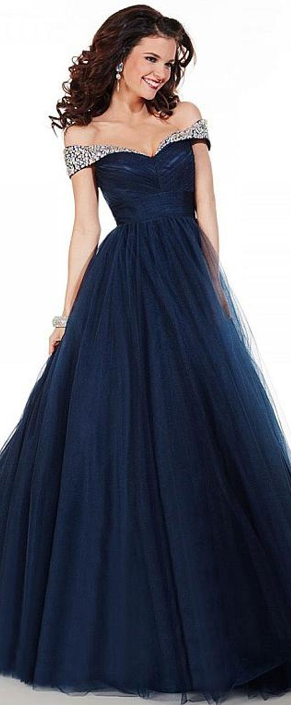 Charming Tulle Off-the-shoulder Neckline Floor-length A-line Prom